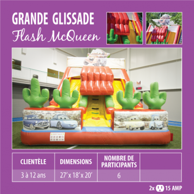 Location de Jeux gonflables - Grande glissade Flash McQueen