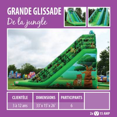 Location de Jeux gonflables - Grande glissade De la jungle