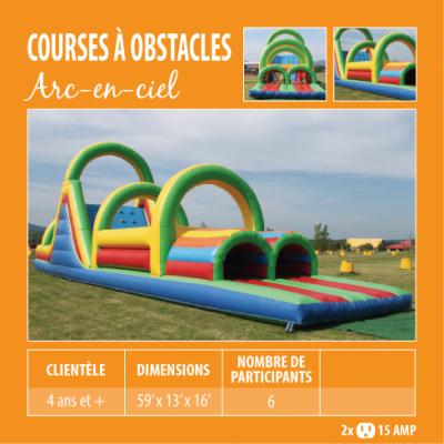 Location de Jeux gonflables - course à obstacle Arc-en-ciel